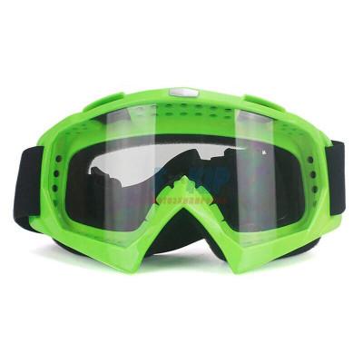 Очки для мотокросса (Зеленые глянцевые, Стекло прозрачное)